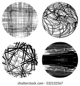 Distressed Lines  Black Set Overlay Texture For Your Design. EPS10 vector.