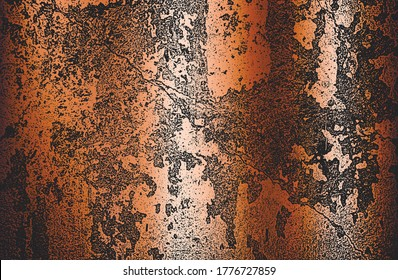 Distressed overlay texture of golden rusted peeled metal. grunge background. abstract halftone vector illustration