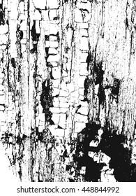Distressed overlay wooden bark texture, grunge vector background.