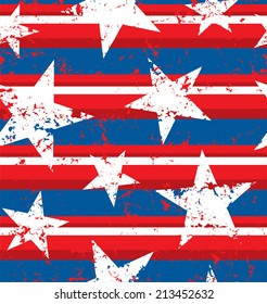 Distressed painted American flag seamless pattern