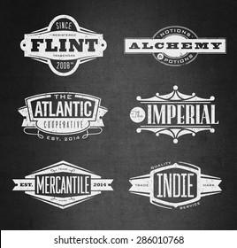 Distressed retro vector grunge logos, seals and medallions