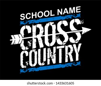 distressed school cross country team design with arrow for school, college or league