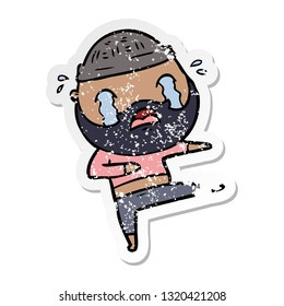 distressed sticker of a cartoon bearded dancer crying