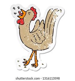 distressed sticker of a cartoon crowing cockerel