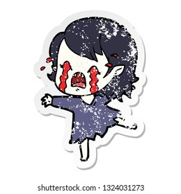 distressed sticker of a cartoon crying vampire girl