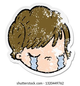 distressed sticker of a cartoon female face crying