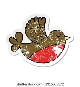 distressed sticker of a cartoon flying bird