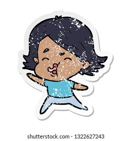 distressed sticker of a cartoon girl pulling face