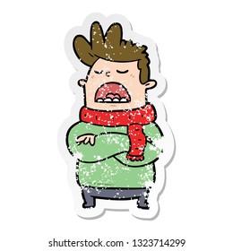 distressed sticker of a cartoon obnoxious man