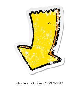 distressed sticker of a cartoon pointing arrow
