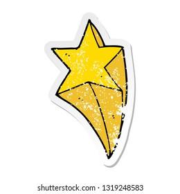 distressed sticker of a cartoon shooting star