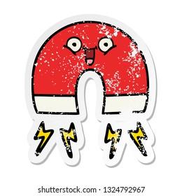 distressed sticker of a cute cartoon magnet