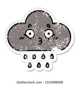 distressed sticker of a cute cartoon storm rain cloud