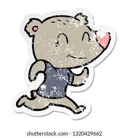 distressed sticker of a healthy runnning bear cartoon