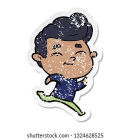 distressed sticker of a running cartoon man