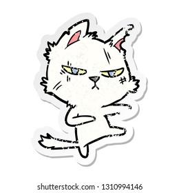 distressed sticker of a tough cartoon cat