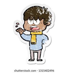 distressed sticker of a worried cartoon boy