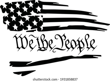 Distressed tattered usa flag with the preamble through the center