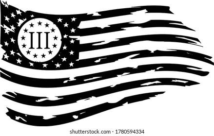 Distressed US Flag 13 Stars - US Flag. USA FLAG - Three Percenters Distressed American Flag cut files