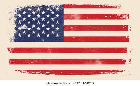 Distressed USA flag, American grunge texture flag. Vector