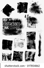 Distressed Vector Ink Stains, A collection of paint stamps. Vector illustration.