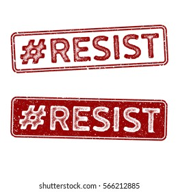 Distressed Vector Stamp Seal - Hashtag: Resist Red Sign for all those that feel the need to speak and act up