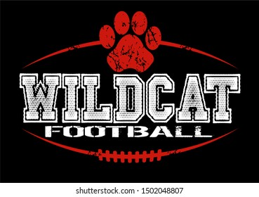 distressed wildcat football team design with paw print and laces for school, college or league