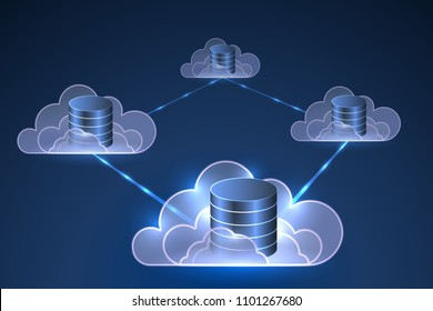 Distributed database in the cloud, vector illustration