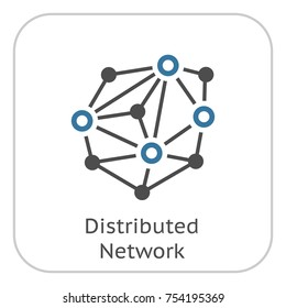 Distributed Network Icon. Modern computer network technology sign. Digital graphic symbol. Bitcoin mining. Concept design elements.