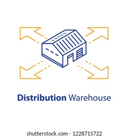 Distribution concept, warehouse services, wholesale building, supply center, isometric view, vector line icon, linear illustration