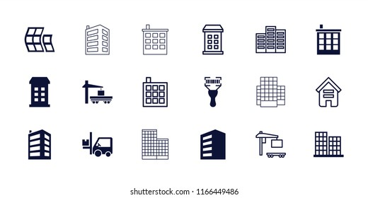 Distribution icon. collection of 18 distribution filled and outline icons such as building, business center, forklift. editable distribution icons for web and mobile.