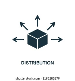 Distribution icon. Monochrome style design from blockchain collection. UX and UI. Pixel perfect distribution icon. For web design, apps, software, printing usage.