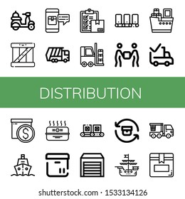 distribution icon set. Collection of Delivery, Box, Package, Garbage truck, Forklift, Conveyor, Shipping, Delivered, Ship, Cardboard box, Warehouse, Return, Crane truck icons