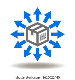 Distribution logo. Packaging box delivery rfid tag arrows icon vector. Supply Chain Post Illustration.