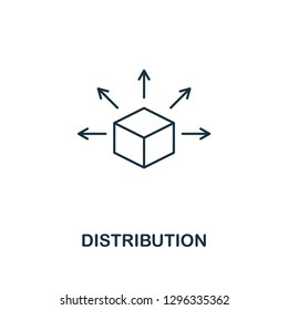 Distribution outline icon. Thin line style design from blockchain collection. Creative distribution icon for web design, apps, software, printing usage.
