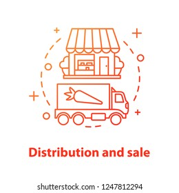 Distribution and sale concept icon. Eco food shop idea thin line illustration. Agricultural business. Eco products transportation. Vector isolated outline drawing