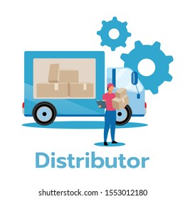 Distributor flat vector illustration. Producer, service provider. Business model. Strategic planning. Distribution of products and services. Delivery truck. Isolated cartoon character on white