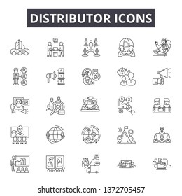 Distributor line icons, signs, vector set, outline illustration concept