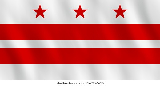 District of Columbia flag with waving effect, official proportion.
