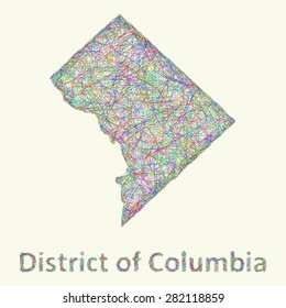 District of Columbia line art map