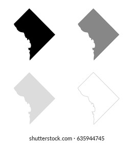 District of Columbia maps in black, gray and line art. High detailed vector map, easy to edit.