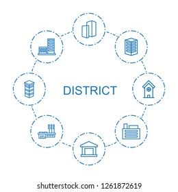 district icons. Trendy 8 district icons. Contain icons such as building. district icon for web and mobile.