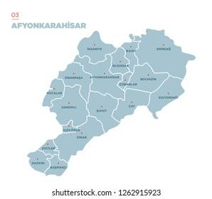 District map of Afyonkarahisar Province, Turkey.