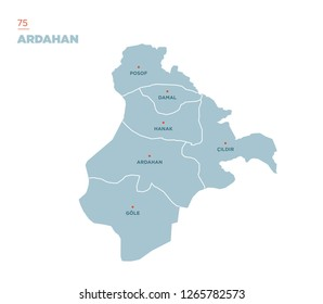 District map of Ardahan Province, Turkey.
