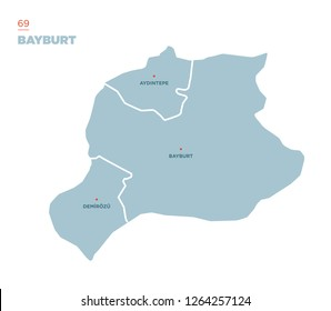 District map of Bayburt Province, Turkey.