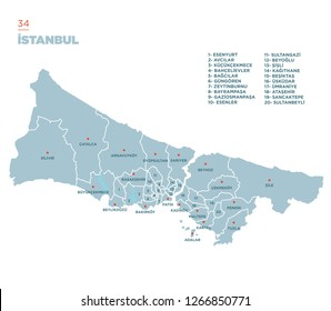 District map of Istanbul Province, Turkey.