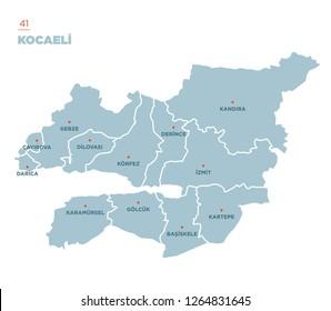 District map of Kocaeli Province, Turkey.