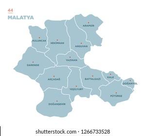 District map of Malatya Province, Turkey