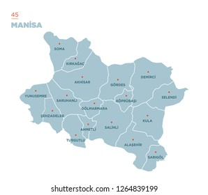 District map of Manisa Province, Turkey.