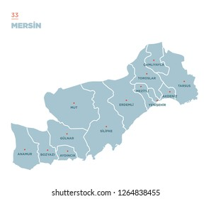 District map of Mersin Province, Turkey.